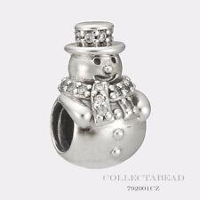 Authentic Pandora Silver Snowman with Clear CZ Bead 792001CZ