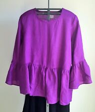 Womens Linen Ruffled Tunic Top Plus Size 16 Light Weight Vivid Purple