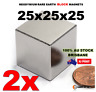 2X Neodymium Rare Earth Block Magnets 25x25x25mm N50