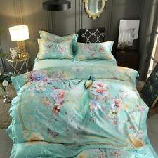 Queen King Size 3D Bedding Set Luxury Silk Satin Cotton Duvet Cover Bed Sheet