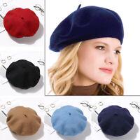 Beanie Winter Warm Felt Berets Flat Cap Hat Autumn Beret Hat Wool Beret Cap