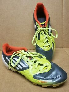 Addidas Soccer Cleats Boys size 5 Sports Shoes F50 Yellow/Grey/White
