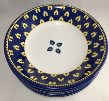 """5 Williams Sonoma Marseille melamine 8 3/4"""" soup pasta cereal bowls blue yellow"""