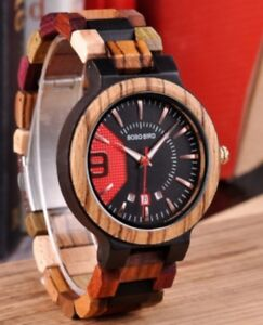 BOBO BIRD Colourful Mens Deluxe Wooden Watch With Date In Gift Box