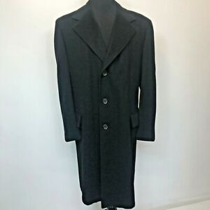 Vtg Clay Poole Black Cashmere Overcoat size XL Hand Tailored Bench Needled P0