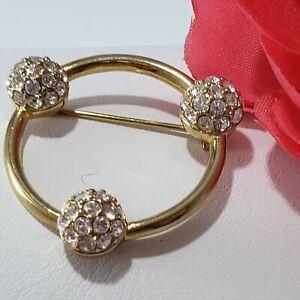 Vintage Brooch Pin Gold Tone Circle Elegant Ball Crystals signed SWAROVSKI  SWAN