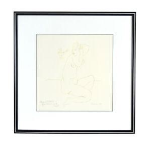 "Modern Minimalist Abstract Pen & Ink ""Nude with Bird..."" sgnd Avan"
