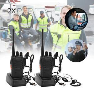 2 x Baofeng 16CH Walkie Talkies Long Range Two Way Radio UHF with Headsets