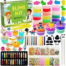 Scientoy Slime Kit, 110 Pcs Slime Kit for Girls Boys and Kids with Air Dry Clay