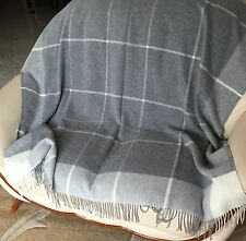 Cashmere Plaid Grey Checked, Wool Blanket Blanket, Sofa Throw, 55 1/8x78 11/16in