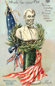 G79/ Patriotic Postcard c1910 President Abraham Lincoln Born Died Flag 32