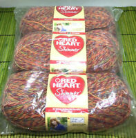 Red Heart Shimmer Yarn Variegated 3 Pack Unopened Factory Label Error