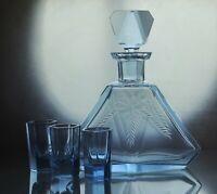 Art Deco Bohemian Faceted Sapphire Blue Glass Decanter/ Carafe & 3 short glasses