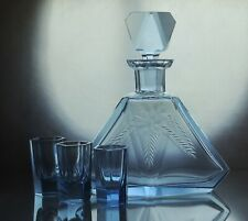 Art Deco Czech Bohemian Faceted Sapphire Blue Glass Decanter/Carafe and 3 short