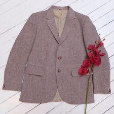 Vintage Men's HARRIS TWEED Tan Pure Wool Hand Woven Coat Jacket (L) (GOOD)