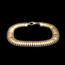 "14k Solid Yellow Gold Women's Mesh Hollow Bracelet 9mm Wide 7.5"""