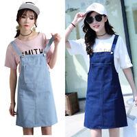 Women Ladies Denim  Jean Dress Pinafore Bib Dungaree A Line Suspender Skirt Blue