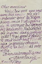 Pierre LOUYS  Lettre autographe signée à T. Klingsor 1899. Louÿs envoie des vers
