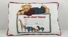 Blue Jean Teddy Bear Nursery Decor Pillow Baby Toddler Children's Pillow