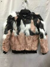 Say What Mixed Faux Fur Bomber Jacket Pink Xs