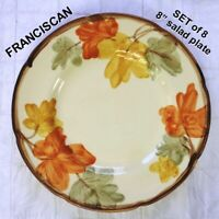 "Vintage FRANCISCAN OCTOBER 8"" SALAD PLATE USA Fall Leaf Design - SET of 8"