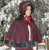Ladies Victorian 2pc tartan cape & bonnet gentry costume  fancy dress. gr& burg