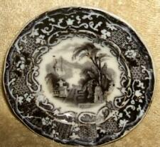 Early 1800's Staffordshire Potteries Black Transfer Doll Plate or Butter Pat