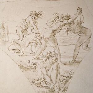🌓 EUGÈNE DELACROIX (d'après) Jeunes Filles de Sparte lutte gravure 1881