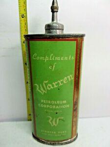 1920-50's-(4oz.) RARE VINTAGE WARREN LIGHTER FLUID TIN CAN HANDY OILER LEAD TOP