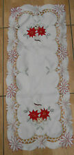 """New embroidered and appliqued Xmas table runner 33"""" x 14"""""""