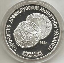 Rusia 3 Rublos 1988 Plata @ 1000 años de Miting en Rusia @ PROOF @