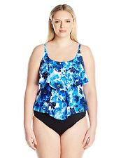 Maxine of Hollywood Plus Size Floral Swimsuit Tankini Top, Cobalt, 16P
