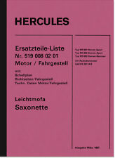 Hercules Sachs Leichtmofa Saxonette Ersatzteilliste Ersatzteilkatalog Typ 519