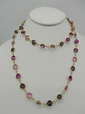 Signed Swarovski Crystal Bezel Necklace Fuchsia Pink Purple 9mm Gold Plated N677