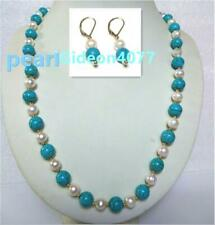 "20"" turquoise AAA SOUTH SEA NATURAL White PEARL NECKLACE EARRING SET 14K"