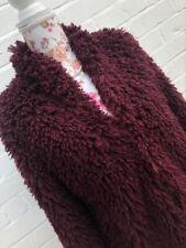 Next Burgundy Glamorous Soft Teddy Faux Fur Jacket Lightweight Size 12 EUR 40