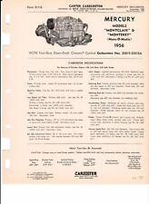 1956 MERCURY CARTER SPEC SHEET 2361S & 2361SA WCFB 4 BARREL SPECS PN'S COPY