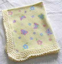 New Fleece Baby Blanket, Hand knitted frill, Butterflies, 86cm x 72cm