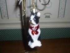 """Kurt Adler 3.5""""-Noble Gem Glass /Paint/Mica Black&White Boston Terrier Dog-Orn."""