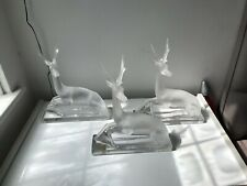 More details for lalique large cerf deer gazelle sitting frosted clear crystal glass figurine