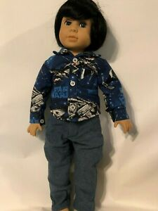 18 in Kingstate boy doll OOAK new black wig blue eyes new clothes