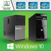 Dell/HP Intel i3 Dual Core / i5 Quad Core Desktop Full Sized Tower PC Windows 10
