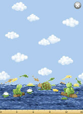 Paul Sheldon Fishing Buddies SusyBee Cotton Quilt fabric Turtle Frog Border BTY