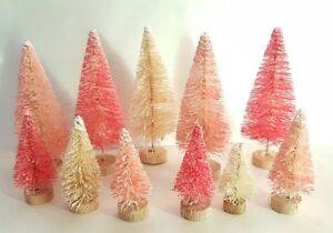 LOT 11 Mini Miniature RED PINK IVORY Sisal Bottle Brush Flocked Christmas Trees