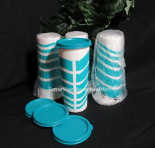 Tupperware NEW Set 4 Blue Wave 16 oz Stacking Tumblers Cups w Teal Blue Seals