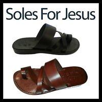 Men Brown Black 100% Leather Biblical Sandals Jesus Strap Sandal Shoes Size 6-12