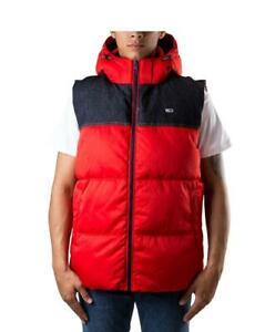 Jacket Man Tommy Jeans Hilfiger Denim Sleeveless Gilet Red Hood Hoodied Regular