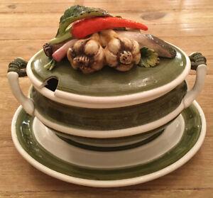 Hand Painted Vintage Arnart 5th Ave Garden Harvest Soup Tureen w/ Lid & Platter