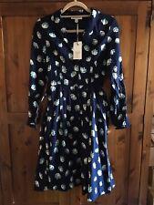 Emily & Fin Women's Paige Shirt Dress Size 8/XS Navy Blue Floral/Lotus Retro