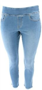 Belle Kim Gravel Denim Frayed Leggings Petite Medium Wash 14P NEW A310235
